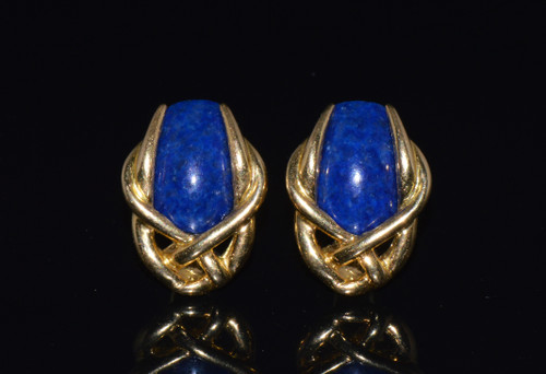 Gorgeous Italian Greek 18K 750 Solid Gold Lapis Lazuli Cluster Clip On Earrings