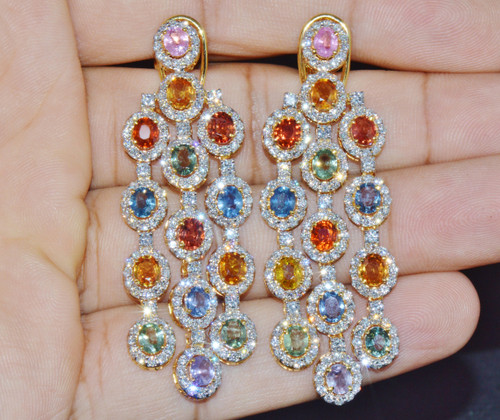 Certified Natural 17.64Cts VS F Diamond Sapphire 18K Solid Gold Chandelier Earrings