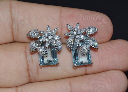 Certified Natural 17.4Cts VS F Diamond Aquamarine 18K Gold Cluster Stud Earrings