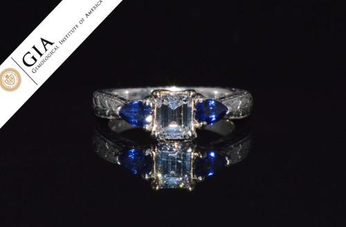 Varna GIA Natural .95CT VS1 E Diamond Sapphire Platinum 18K Gold Engagement Ring
