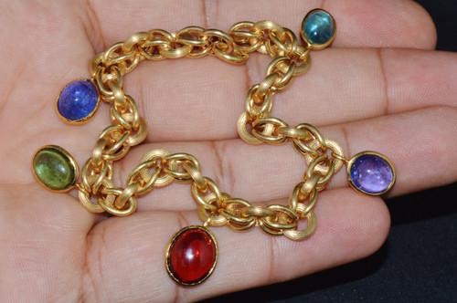 Estate Italian Solid 18K Gold Tanzanite Tourmaline Charms Bracelet
