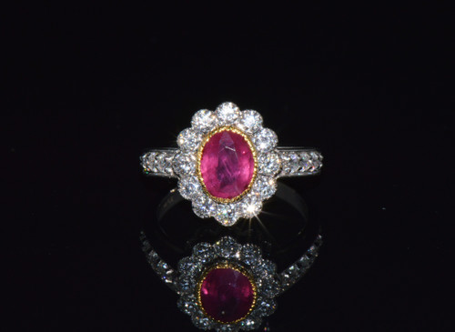 Certified Natural 2.15CTS VS F Diamond Ruby 18K Solid Gold Halo Ring