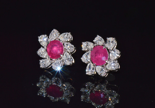 Certified Natural 6.49CTS VS F Diamond Ruby 18K Solid Gold Floral Cluster Earrings