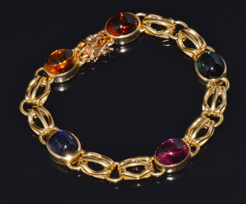 Gorgeous Italian Solid 18K Gold 31Cts Tourmaline Tennis Bracelet
