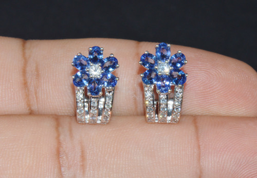 Certified Natural 2.72Cts SI H Diamond Sapphire 18K Solid Gold Floral Cluster Earrings