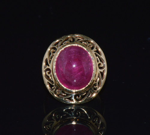 Certified Natural 7CTS Rubelite Tourmaline 750 18K Solid Gold Dinner Ring