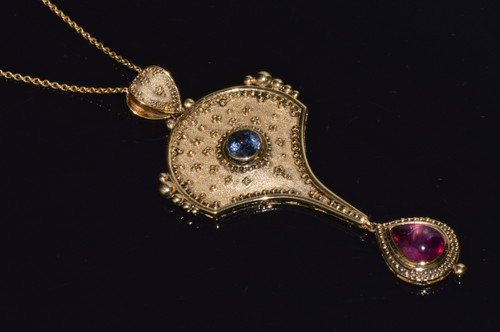 Certified Natural Rubellite Tourmaline And Spinel 18K 750 Solid Gold Filigree Pendant