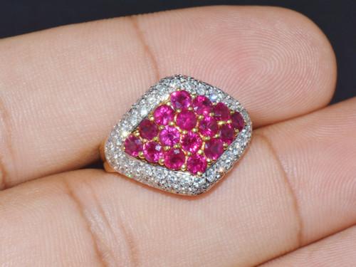 Certified Natural 2.65CTS Diamond Ruby 18K Solid Gold John C Rinker Designer Ring