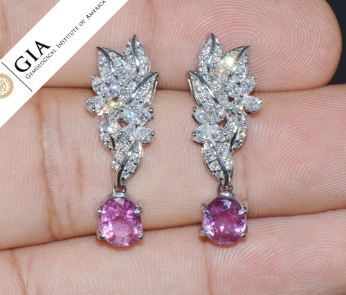 GIA Certified Natural 4.48CTS VS F Diamond Pink Sapphire 18K Solid Gold Dangle Earrings