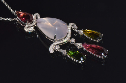 Certified Natural 28.57Cts Diamond Multicolor Tourmaline Rose Quartz Solid 18K Gold Pendant