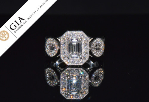 JAVDA GIA Certified Natural 2.53CTS IF F Diamond Solid 14K White Gold Engagement Ring