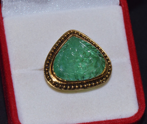 Certified Natural 11.78Cts Carved Emerald Itaglio 750 18K Solid Gold Bezel Beaded Filigree Ring