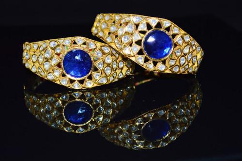 Estate Mogul Enamel 22K 18K Solid Gold Genuine Natural Diamond Sapphire Bracelet