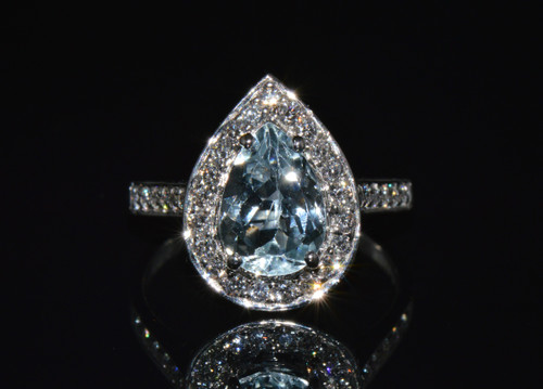 Certified Natural 2.21Cts VS F Diamond Aquamarine 750 18K Solid Gold Halo Ring
