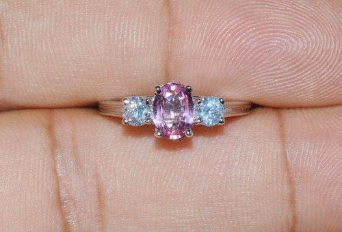Certified Natural 1.25Cts Diamond Sapphire Three Stone 18K Solid Gold Ring