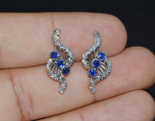 Certified Natural 1.16Cts SI H Diamond Sapphire 18K Solid Gold Cluster Earrings