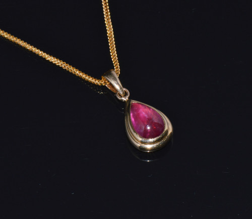 Certified Natural 7.01Cts Rubellite Tourmaline 18K Solid Gold Italian Dome Pendant