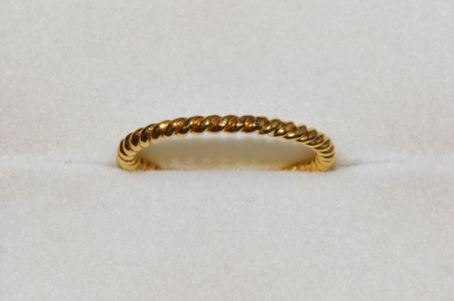 Dainty 750 18K Solid Yellow Gold Filigree Twisted Rope Band Ring