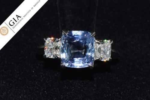 GIA Certified Natural 4.72CTS VVS E Diamond Violet Sapphire Platinum Engagement Ring