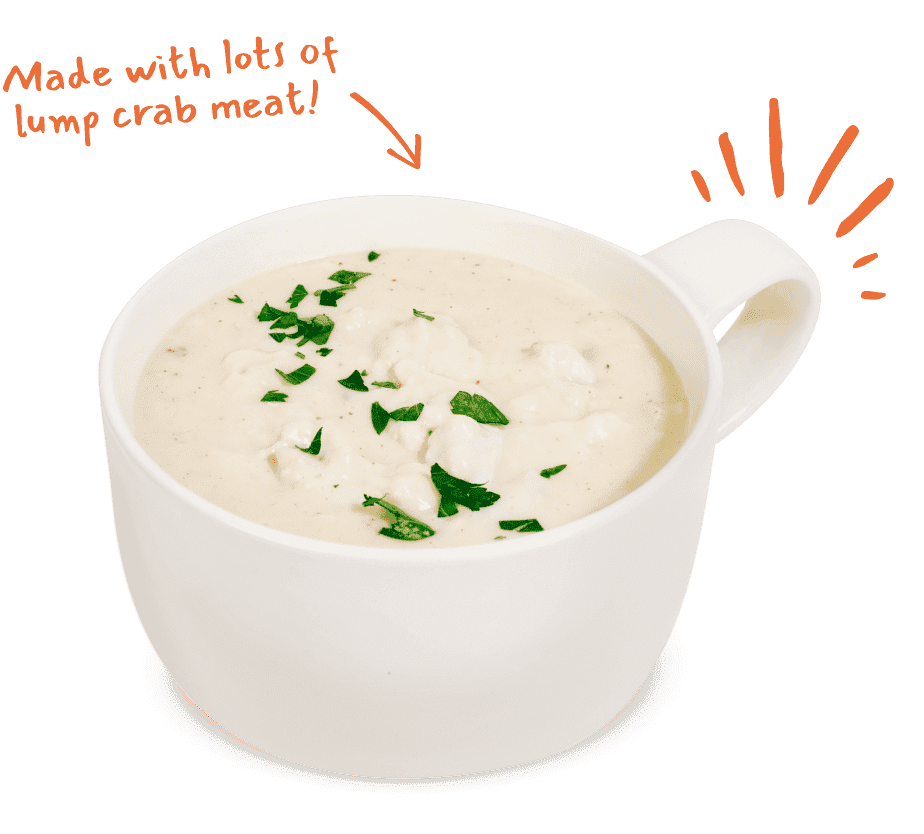 G&M Cream of Crab Soup made with jumbo lump crabmeat