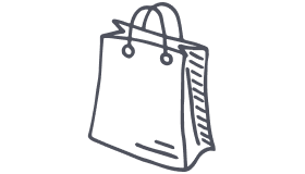 Drawing of a takeout bag