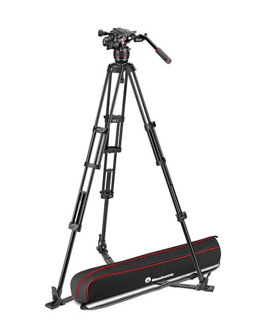 Manfrotto Nitrotech 608 Video Head With Aluminium Twin Leg Ground Spreader Tripod Kit