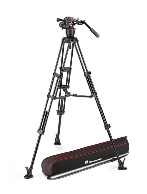 Manfrotto Nitrotech 608 Video Head With Aluminium Twin Leg Mid-Level Spreader Tripod Kit