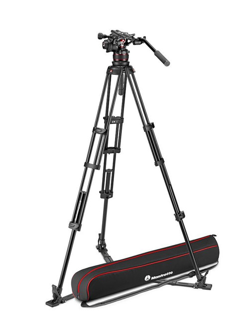 Manfrotto Nitrotech 612 Video Head With Aluminium Twin Leg Ground Spreader Tripod Kit