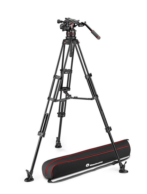 Manfrotto Nitrotech 612 Video Head With Aluminium Twin Leg Mid-Level Spreader Tripod Kit