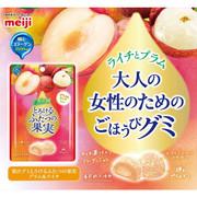 MEIJI Fruit Juice Gummy Candy Lychee & Plum Flavor   明治果實軟糖 荔枝+ 布林 52g