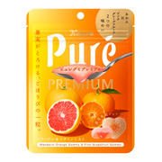 KANRO Pure Premium Gummy Orange & Grapefruit Flavor | 甘樂 柑及葡萄柚味鮮果心型 果汁流心軟糖 63G