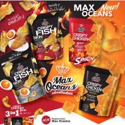 MAXOCEANS Crispy Fish Skin Squid & Salted Egg  Flavor | MAXOCEANS 脆香魚皮 鹹蛋辣魷魚味 35g
