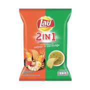 Lay's Potato Chips 2 in 1 Shrimp With Seafood Sauce Flavor | 樂事【泰國】烤蝦及海鮮醬味波浪薯片 48g