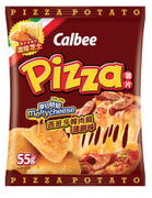 CALBEE - Potato Chips Chorizo Melty Cheese Pizza Flavor | 卡樂B 厚切脆脆西班牙辣肉腸薄餅味薯片 55G