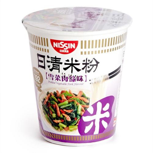 NISSIN Instant Rice Vermicelli Noodles Pickled Vegetable Pork Flavor | 日清 雪菜肉絲味杯米粉 64g