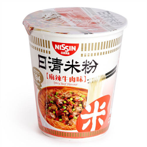 NISSIN Instant Rice Vermicelli Noodles Spicy Beef Flavor   日清麻辣牛肉味杯米粉 58g