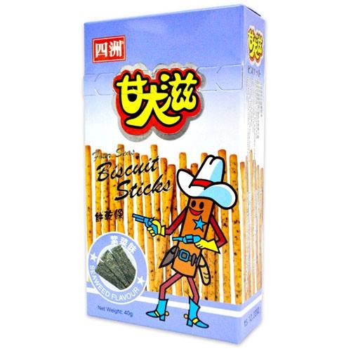 FOUR SEAS Biscuit Sticks Seaweed Flavor   四洲 甘大滋餅乾條紫菜味 40G