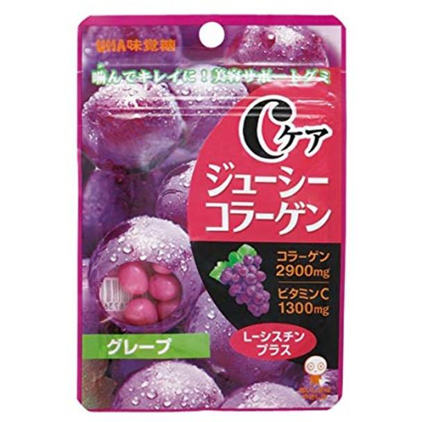 UHA C CARE Juice Collagen Candy Grape Flavor | 味覺糖 骨膠原果汁糖提子味 40g