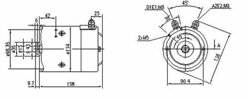 MM313 Letrika 12v 1.6KW CW Rotation Motor BUCHER HYDRAULICS