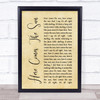The Beatles Here Comes The Sun Rustic Script Song Lyric Quote Print