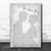 J. Cole She's mine, Pt. 1 Grey Man Lady Bride Groom Wedding Song Lyric Print