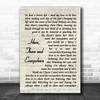 The Beatles Here, There And Everywhere Vintage Script Song Lyric Wall Art Print