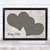 Any Song Lyrics Custom Landscape Music Script Two Hearts Song Lyric Print