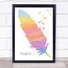 Kacey Musgraves Rainbow Watercolour Feather & Birds Song Lyric Print