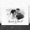 Landscape Smudge White Grey Wedding Photo Any Song Lyric Wall Art Print