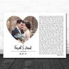 White Landscape Script Heart Wedding Photo Any Song Lyric Wall Art Print