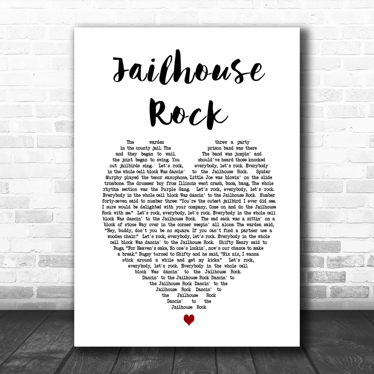 Elvis Presley Jailhouse Rock Vintage Heart Song Lyric Quote Print