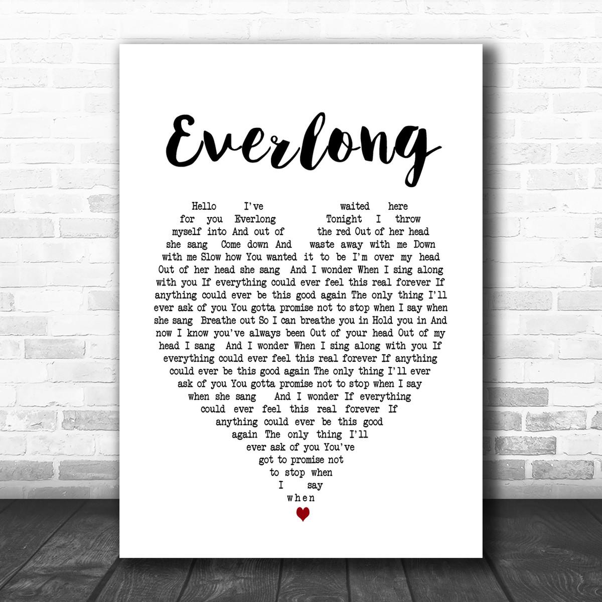 Everlong Grey Heart Song Lyric Quote Print