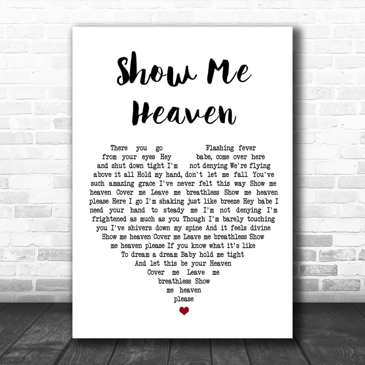 Show Me Heaven Burlap /& Lace Song Lyric Print