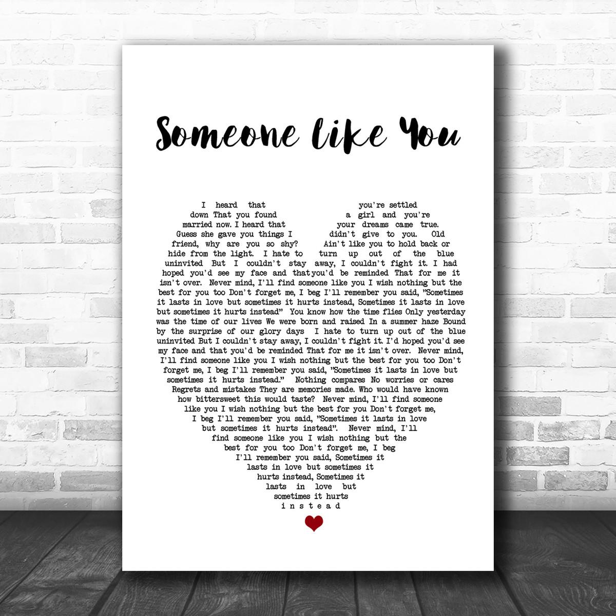 Someone Like You Adele Heart Song Lyric Music Wall Art Print Song Lyric Designs